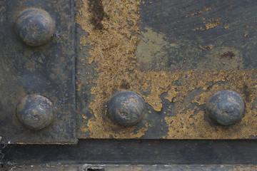 Rusty, heavy Iron Rivets