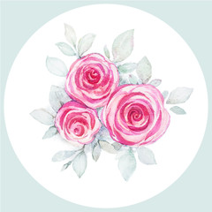 Watercolor pink roses. Greeting or invitation card.