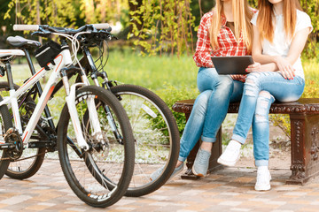 Young girls relaxing after bike riding