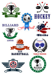 Set of sport games icons and symbols