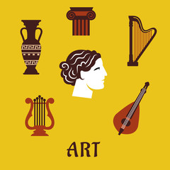 Classical flat art and musical instruments icons