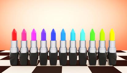 Multicolor closeup lipsticks