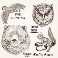 Foto op Canvas Hand getrokken schets van dieren vector hand drawn animals