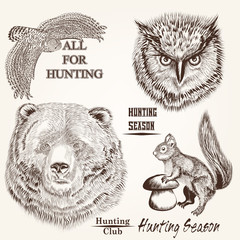 Canvas Prints Hand drawn Sketch of animals vector hand drawn animals