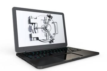 Internet Secure Concept. Laptop with Vault Door