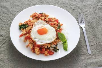 Gapao rice the Thai food