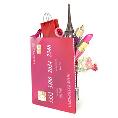 shopping concept. credit card and Women's Accessories