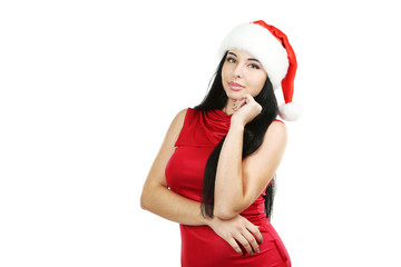 Beautiful woman in christmas hat