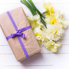 Present box and flowers