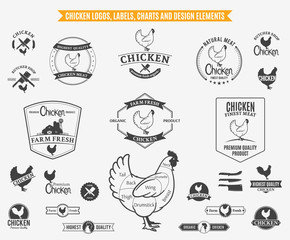 Chicken Logos, Labels, Charts and Design Elements