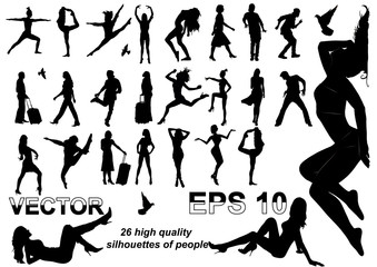 Set of 26 silhouettes of men and women, high-quality drawing