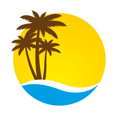 Sunset and palm trees on island, vector