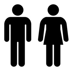 Schematic silhouettes of men and women isolated on a white background.