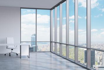 workplace in a modern corner panoramic office in Manhattan,
