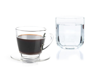 A Cup of coffee and drinking water on white background