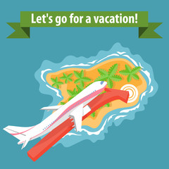 Flat illustration of summer holiday vacation