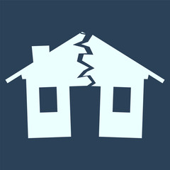 silhouette of broken house as illustration of disaster, crisis