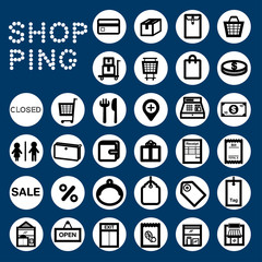 SHOPPING Black& white icons for shopping topic.