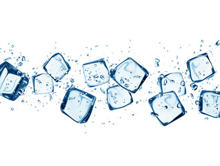 Ice cubes in water splashes isolated on white
