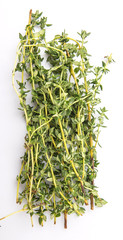 Thyme herbs leaves over white background