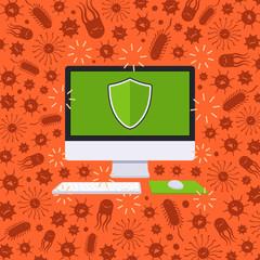 Computer under the virus attack