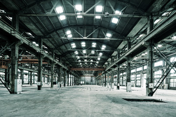 Empty floor in abandoned factory