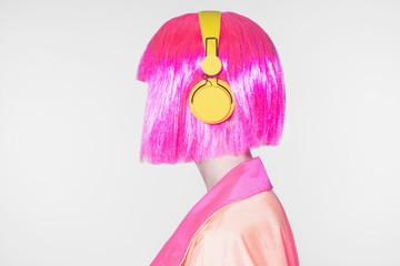 pink hair Woman listening music