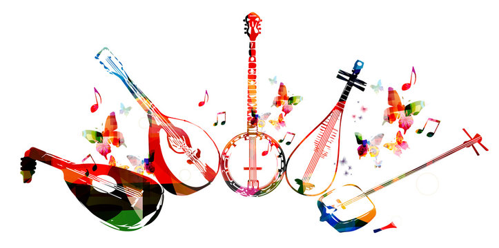 Group of music instruments with butterflies