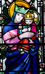 Mary with Jesus in her arms (stained glass)