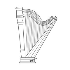 dark outline pedal harp technical illustration