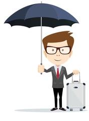 Senior businessman with briefcase and umbrella