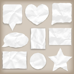 Labels or symbols of white crumpled paper