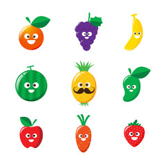 Collection of happy fruit cartoon icon vector illustration