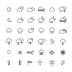 Collection of weather line icons on white background. Vector ill