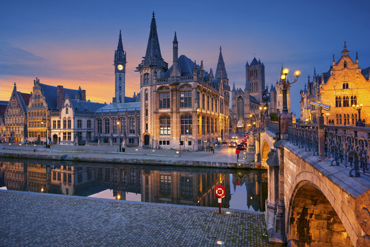 Ghent. Image of Ghent, Belgium during sunset.