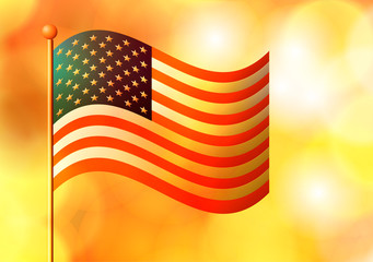 Vector illustration. American flag on an orange blur background.