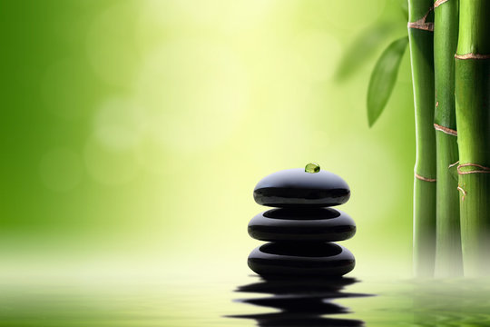 Zen concept. Black spa stones in bamboo forest.