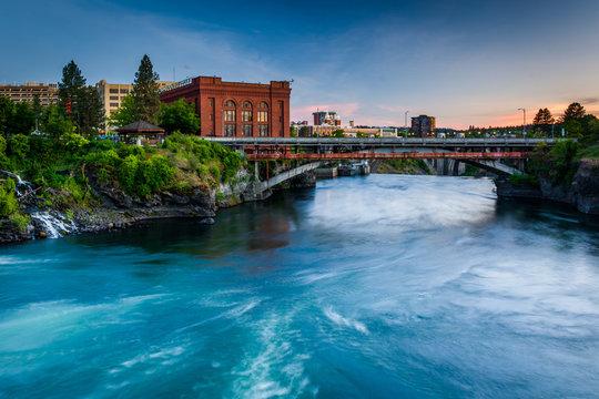 The Spokane River at sunset, in Spokane, Washington.