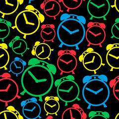 alarm clock colors icons seamless pattern eps10