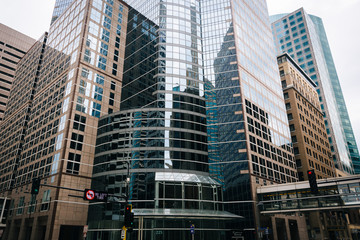 Modern buildings in downtown Minneapolis, Minnesota.