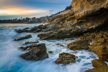 Rocks and waves in the Pacific Ocean at sunset, at Monument Poin