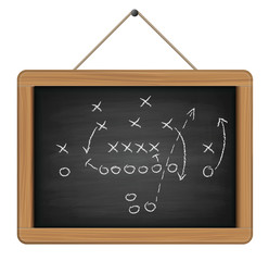 football tactic on chalkboard