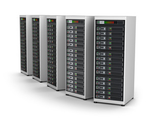 Row of network servers in data center isolated on white
