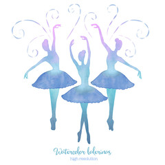 Watercolor ballerinas set.