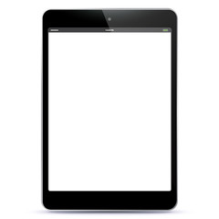 Black Tablet PC Vector illustration with blank screen. EPS10.