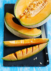 Cantaloupe melon slices. Top view