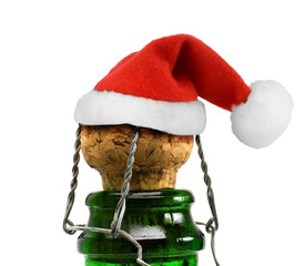 Santa Claus red hat in Champagne Bottle