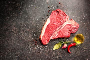 Deurstickers Vlees Raw fresh meat T-bone steak