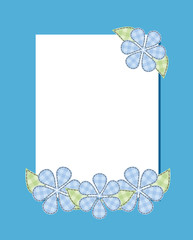 Frame cloud flower patch suture thread on a blue background Vert