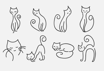 set of cartoon cats vector curved lines